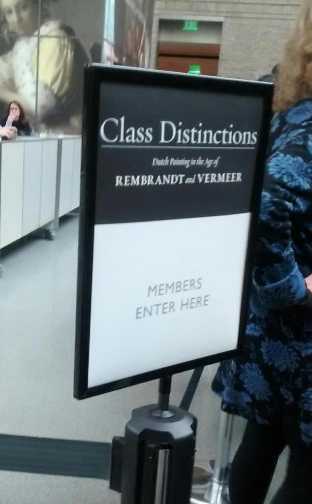 "This art exhibit gives the attendee the full ""class distinction"" immersion experience. (Note: This photo is actually from my daughter who also has a keen eye for the bizarre,)"